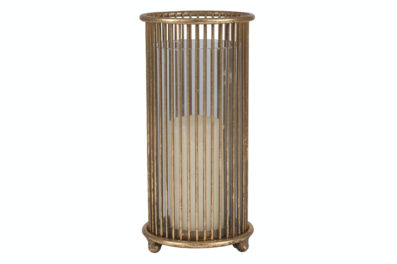 Gold Metal & Glass Round Candle Holder | Large
