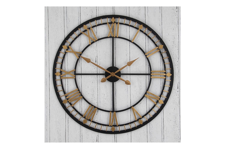 Antique Bronze & Gold Metal Round Clock