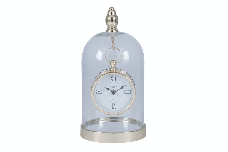Shiny Gold Metal & Glass Clock