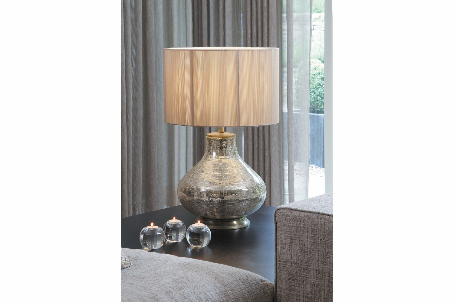 Mosaic Table Lamp With Champagne String Shade