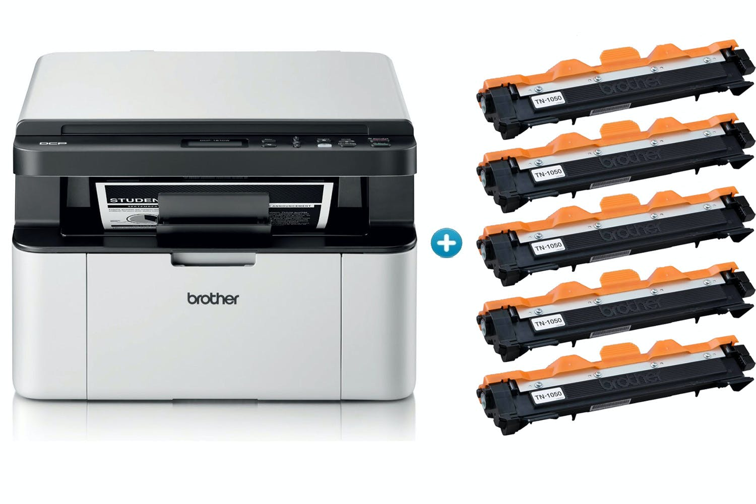 Brother DCP-1610W All-in-One Mono Laser Printer & 5 Toner Bundle