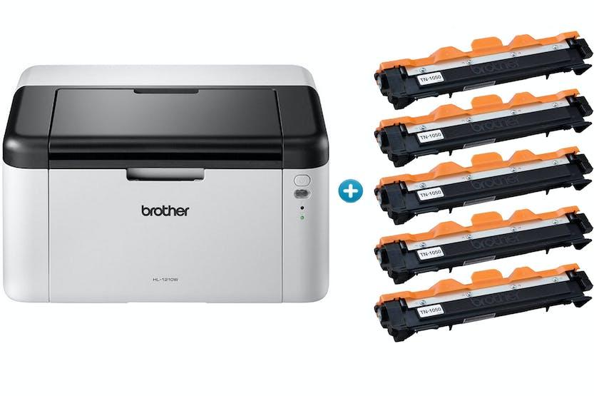 Brother HL-1210W All-in-One Mono Laser Printer & 5 Toner Bundle