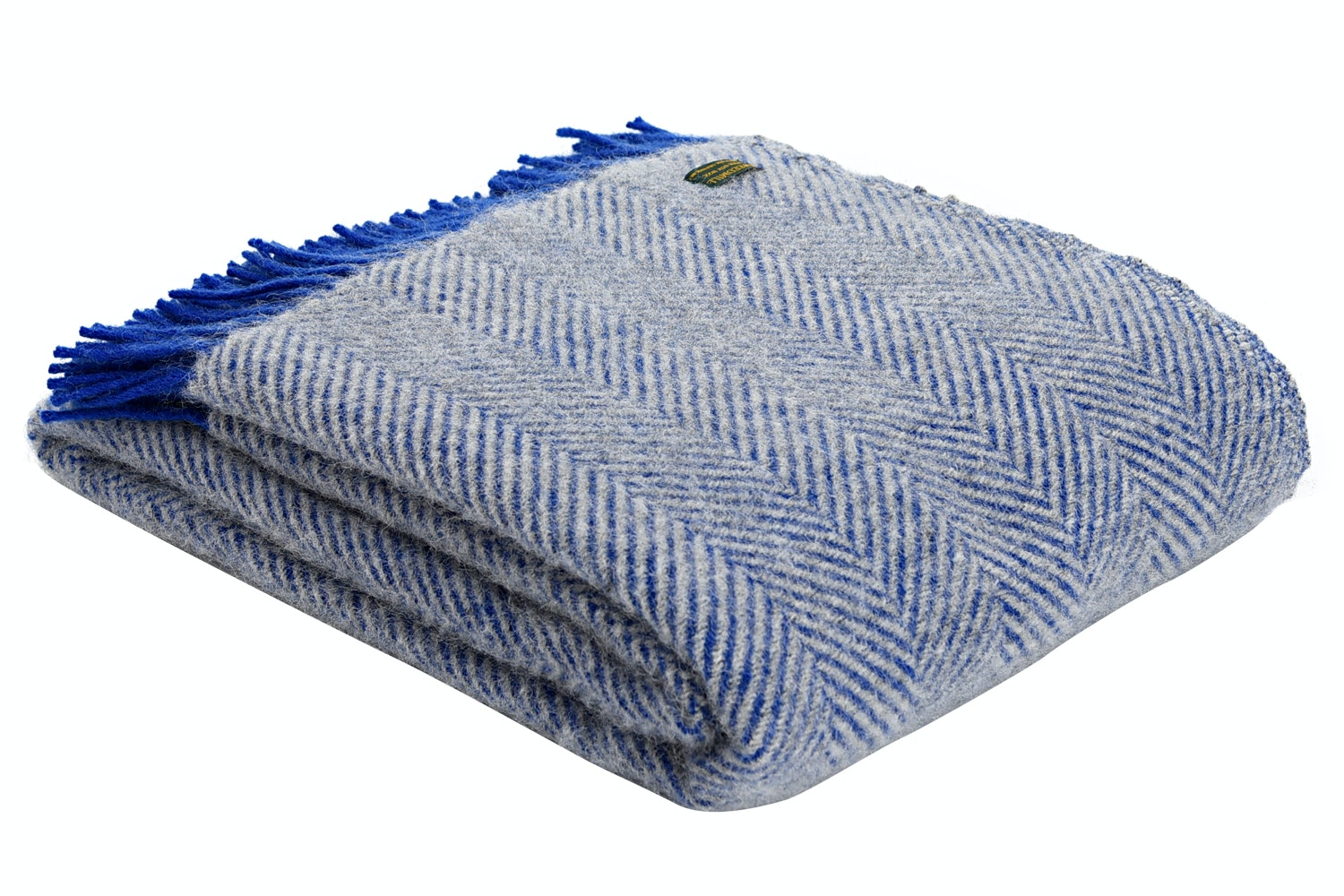 Herringbone Throw Blue/Silver