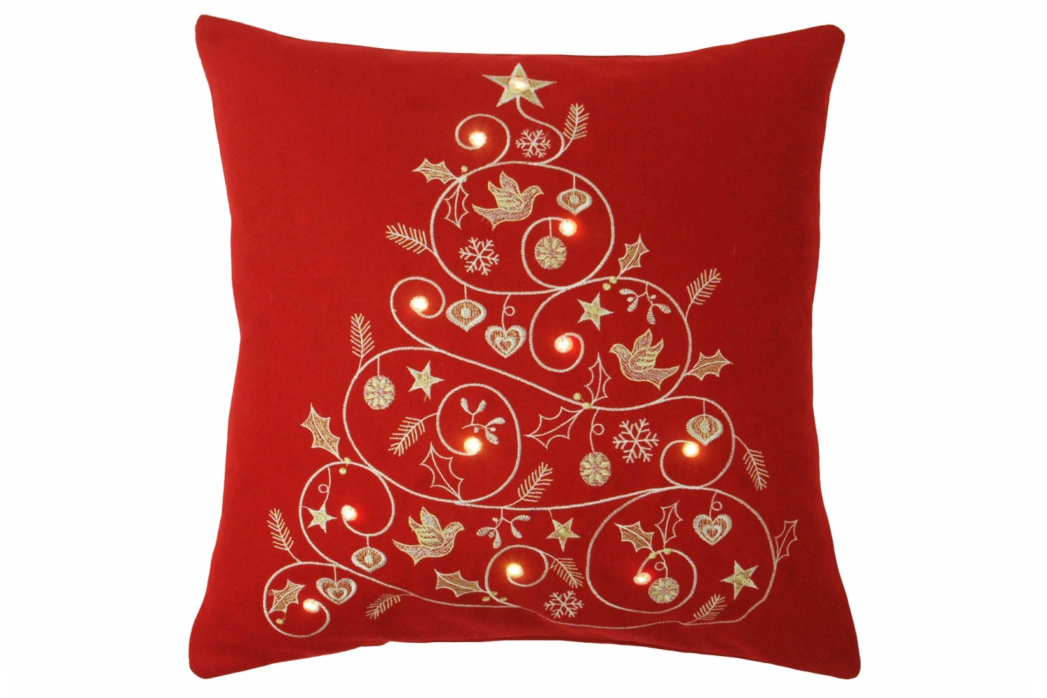 Christmas Lights Tree Red Cushion