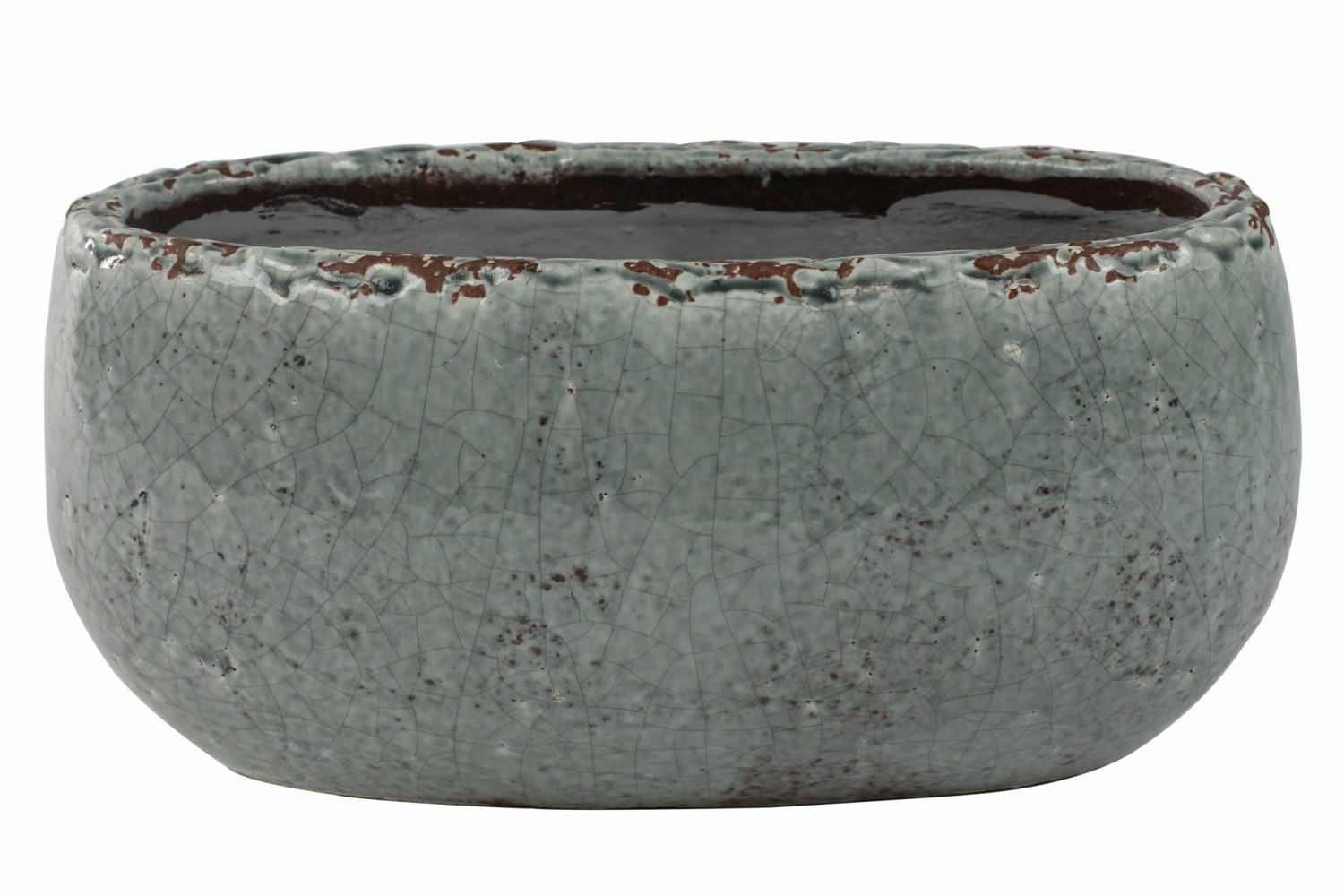 Boat Glazed Kirsty Pot | Ice Blue