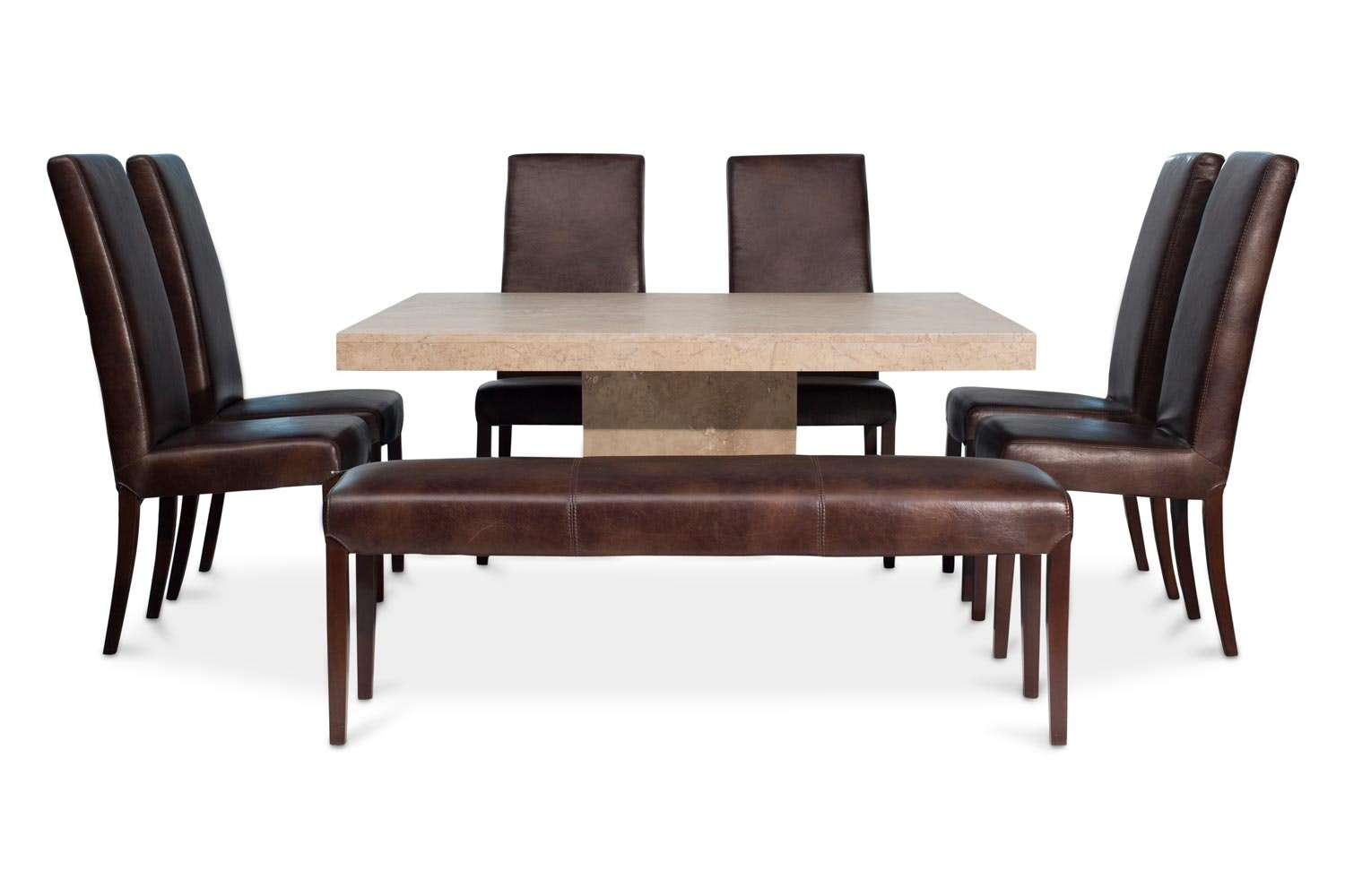 Vigo Dining Set with 6 Armstrong Chairs and Bench | 7 Pieces