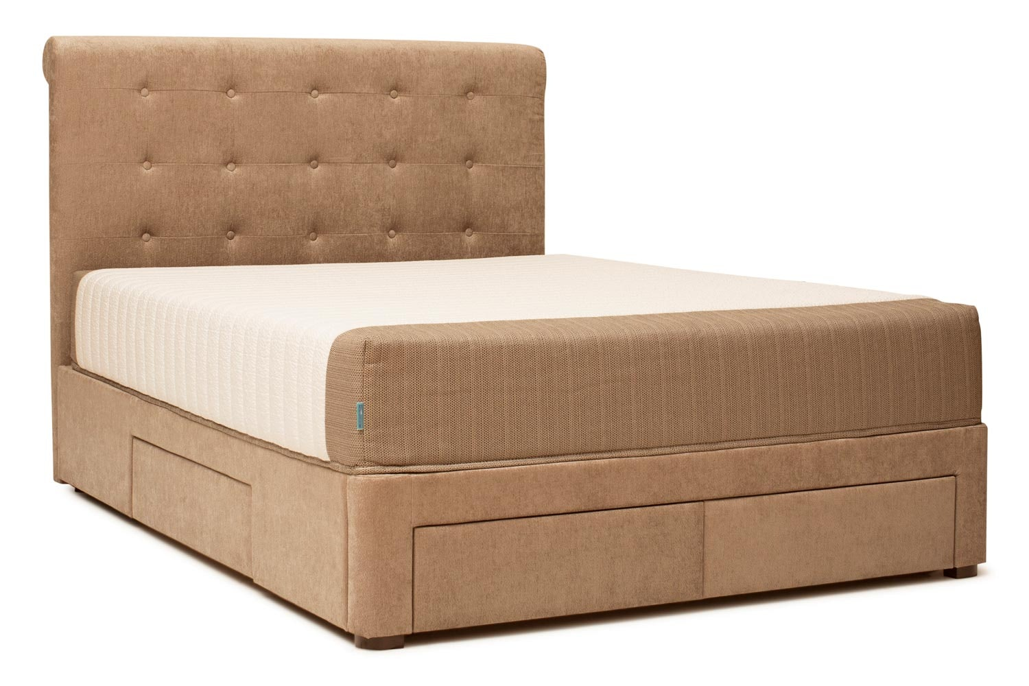 Duval Bed   Scroll Top with Storage   Mink   5ft