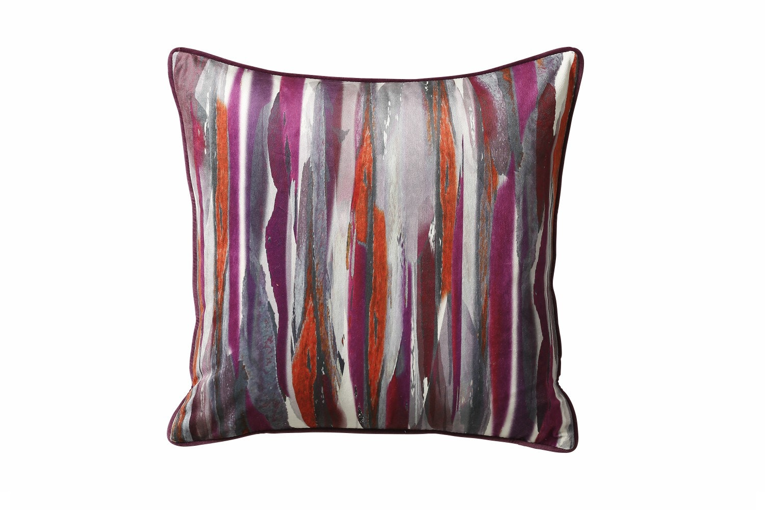 Painterly Stripe Purple Cushion