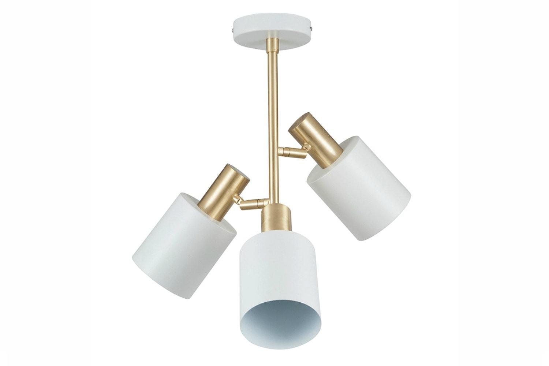 White & Brass 3 Light Pendant