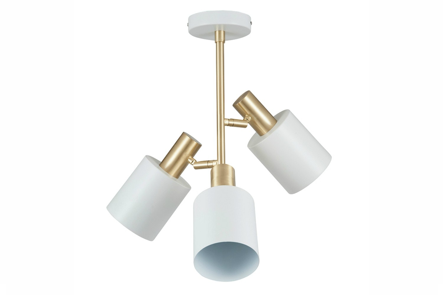 White & Brass 3 Light Pendant
