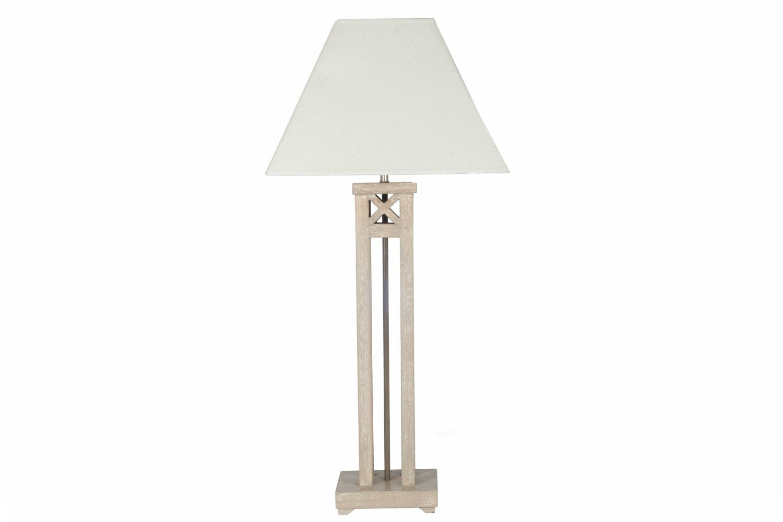 Vintage Wood Column Table Lamp