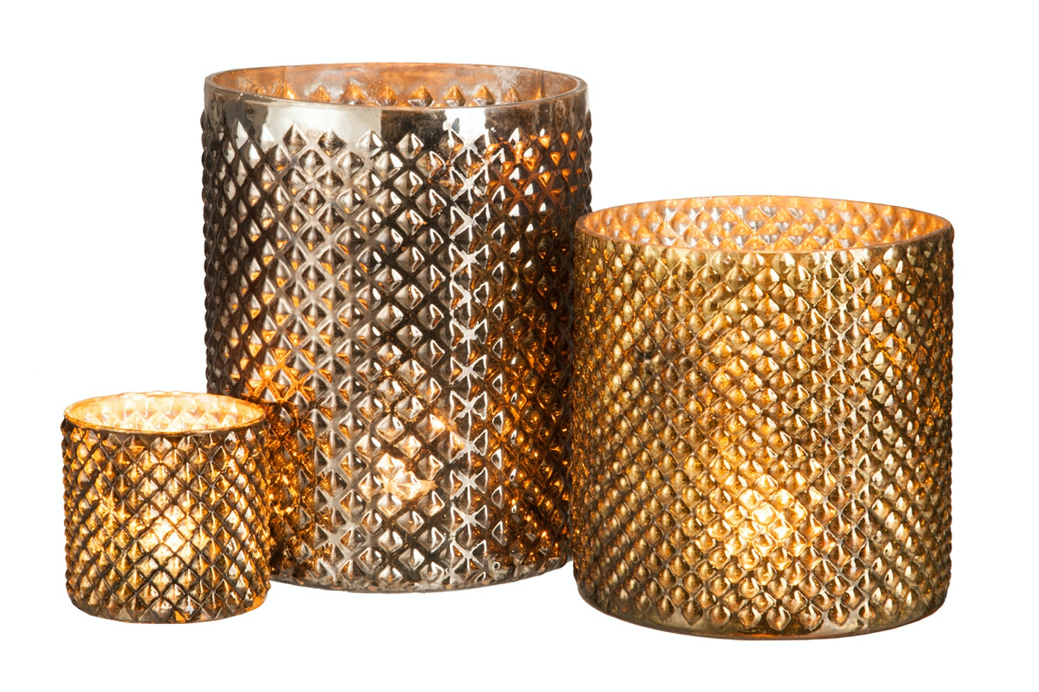 Rhombus Glass Candle Holder | Gold & Bronze