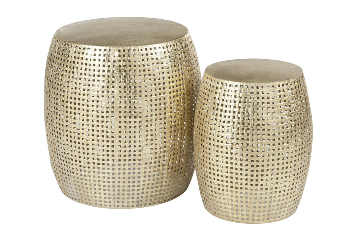 Set Of 2 Antique Gold Grid Metal Stool
