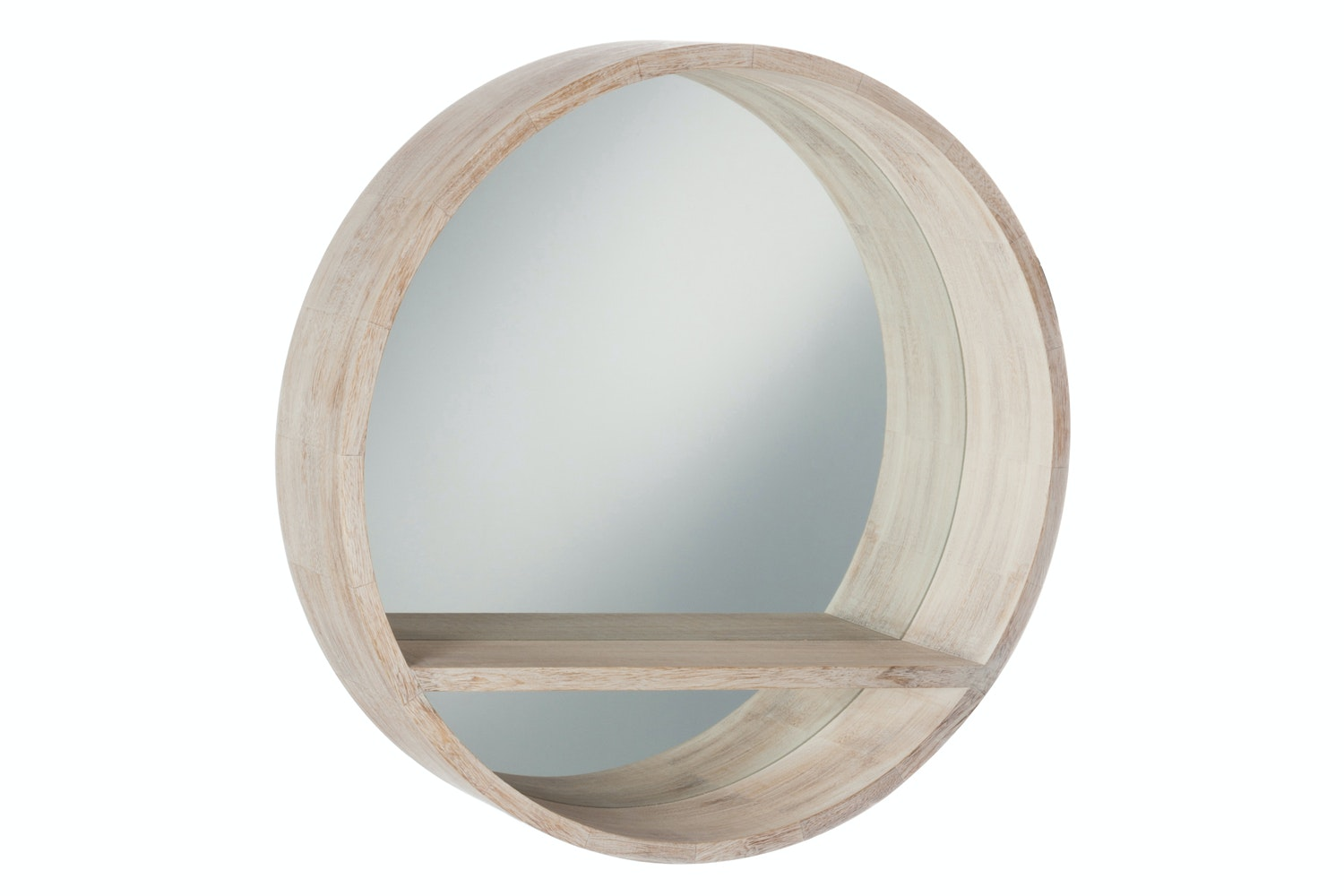 Round Mirror with Wood Frame | Large