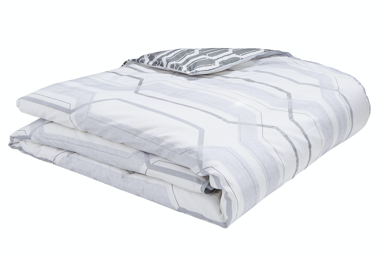 Geo Cotton Print Grey Duvet Set | Double