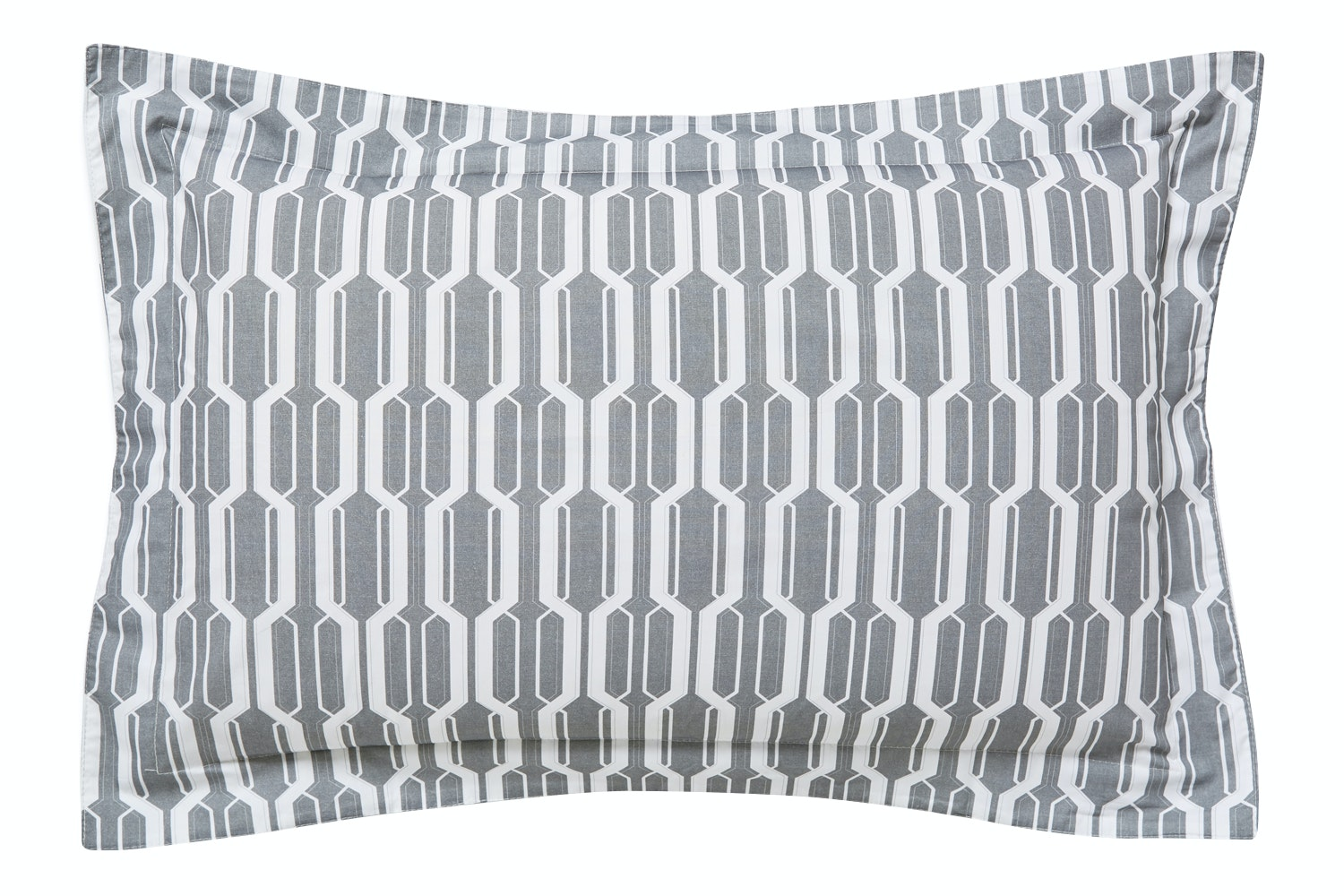 Geo Cotton Print Grey Oxford Pillow Case