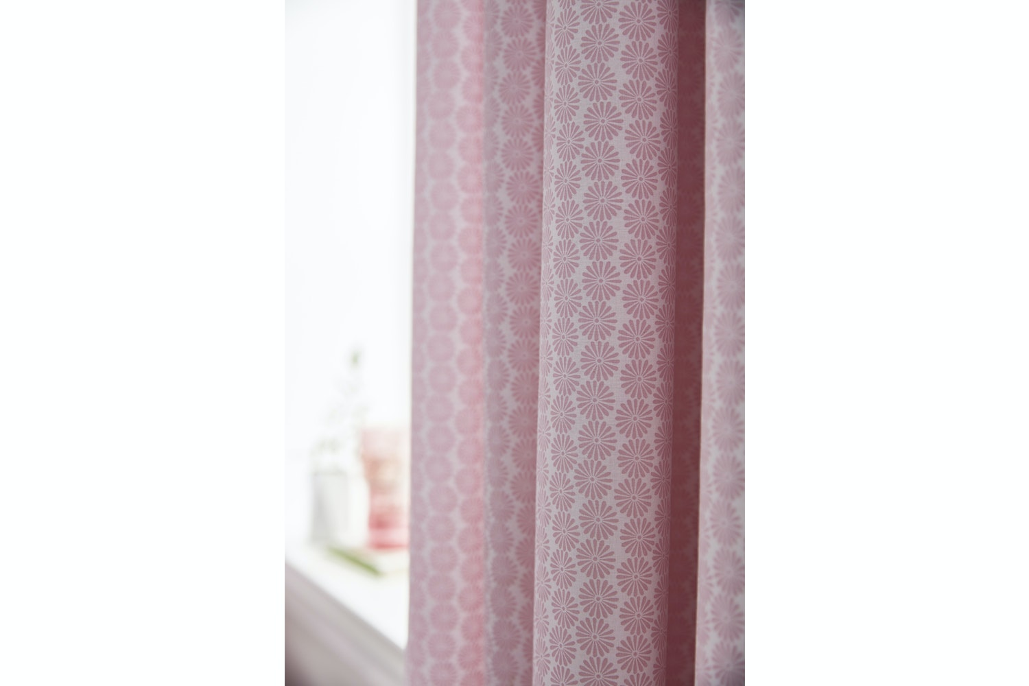 Ditsy Cotton Print Curtain Blush