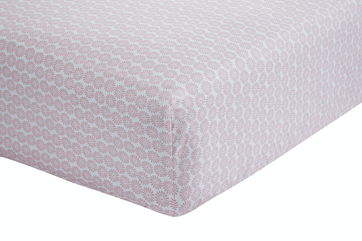 Ditsy Cotton Print Blush Fitted Sheet | Single