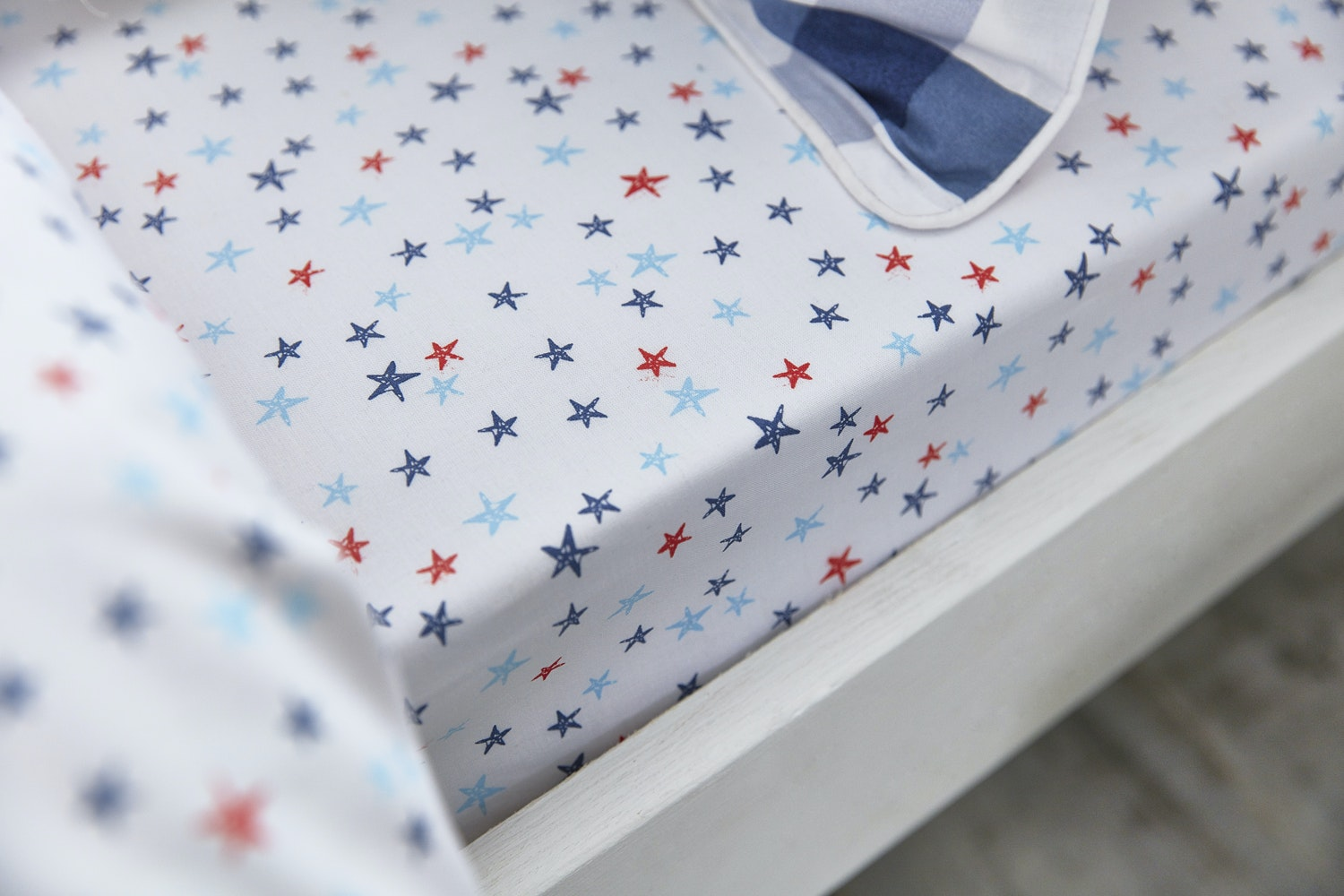 Star Cotton Print Blue Single Fitted Sheet