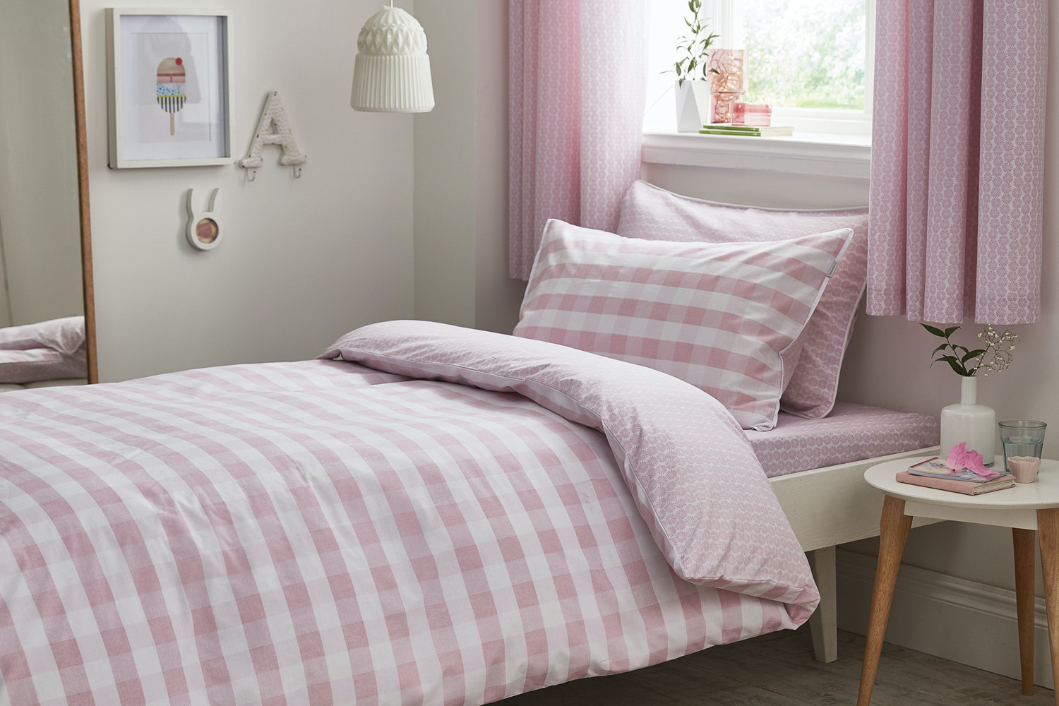 Gingham Cotton Print Blush Duvet Cover Set | Single