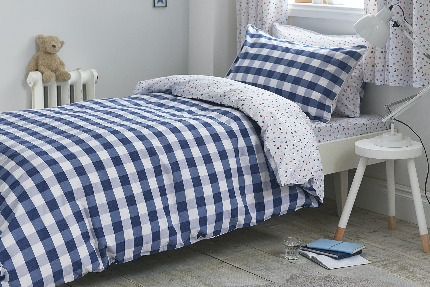 Gingham Cotton Print Blue Duvet Cover Set | Single