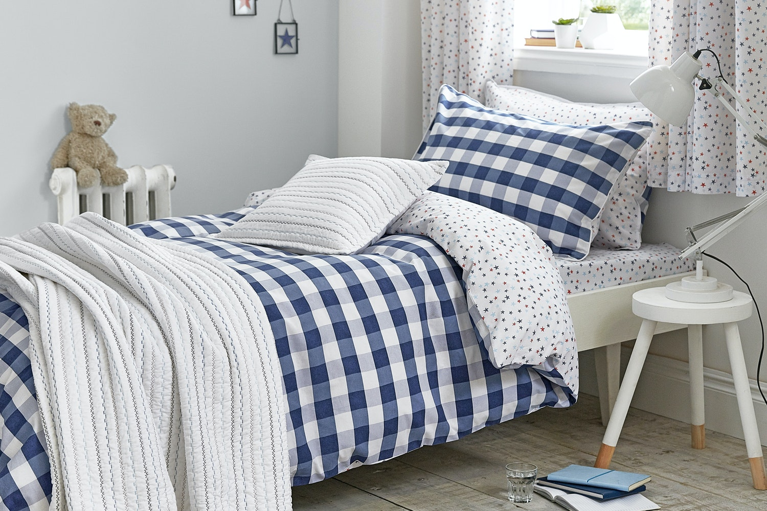 Blue Folk Cotton Bedspread