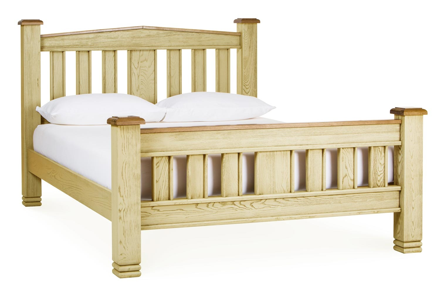 Lancaster Bed Frame | 4ft6 | Aged Cream/Oak