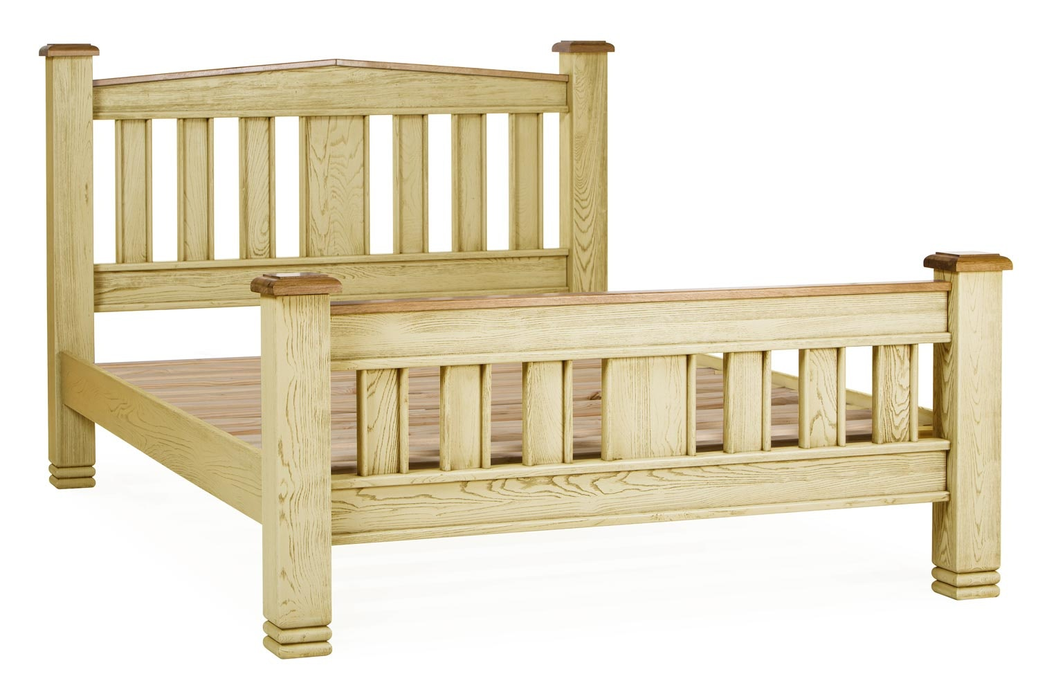 Lancaster Bed Frame | 5ft | Aged Cream/Oak