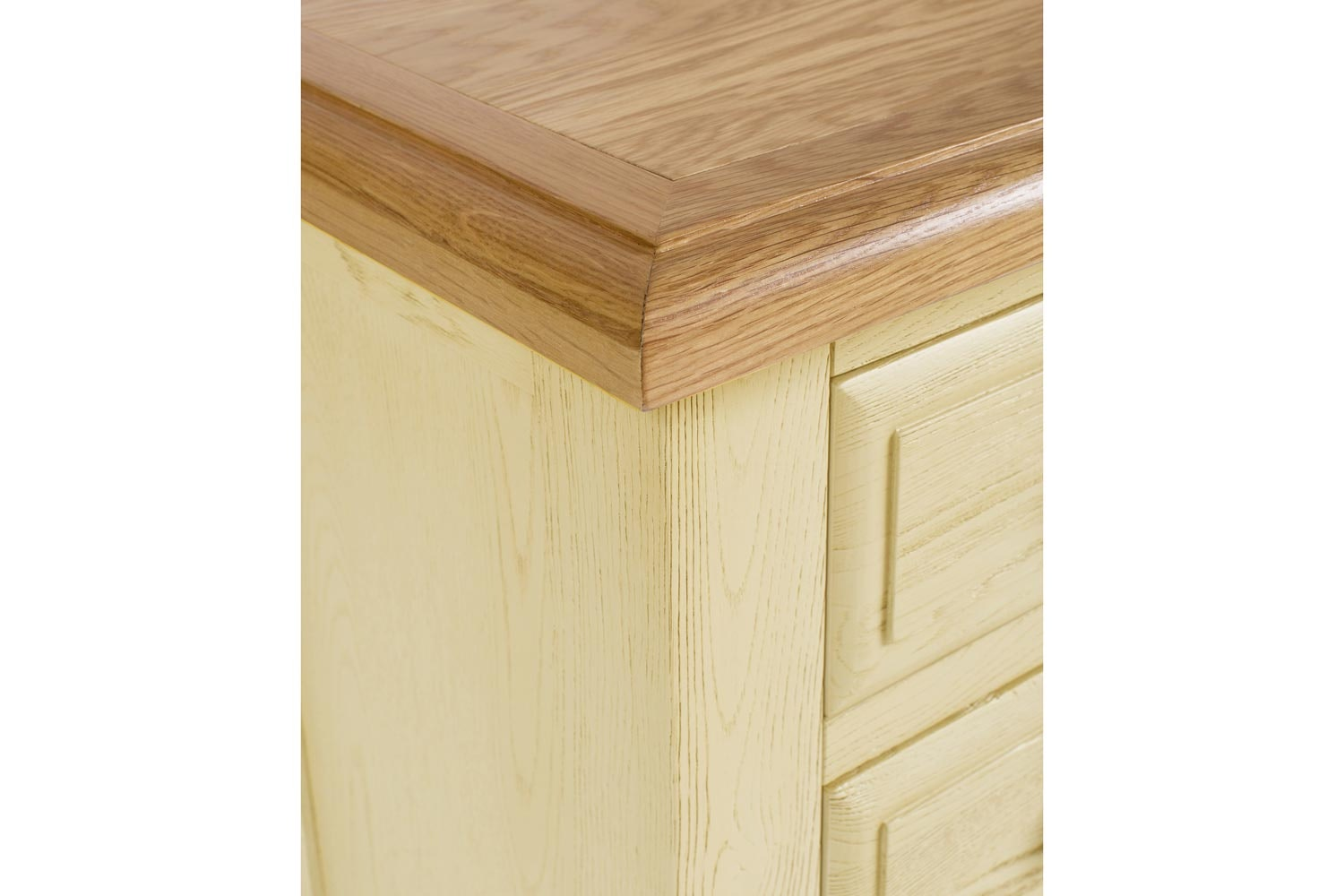 Lancaster 3 Drawer Bedside Locker | Aged Cream/Oak