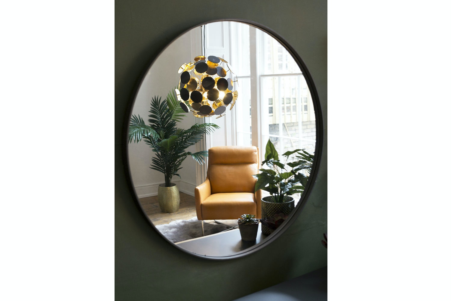 Round Mirror | Dark Brown Wood | Large