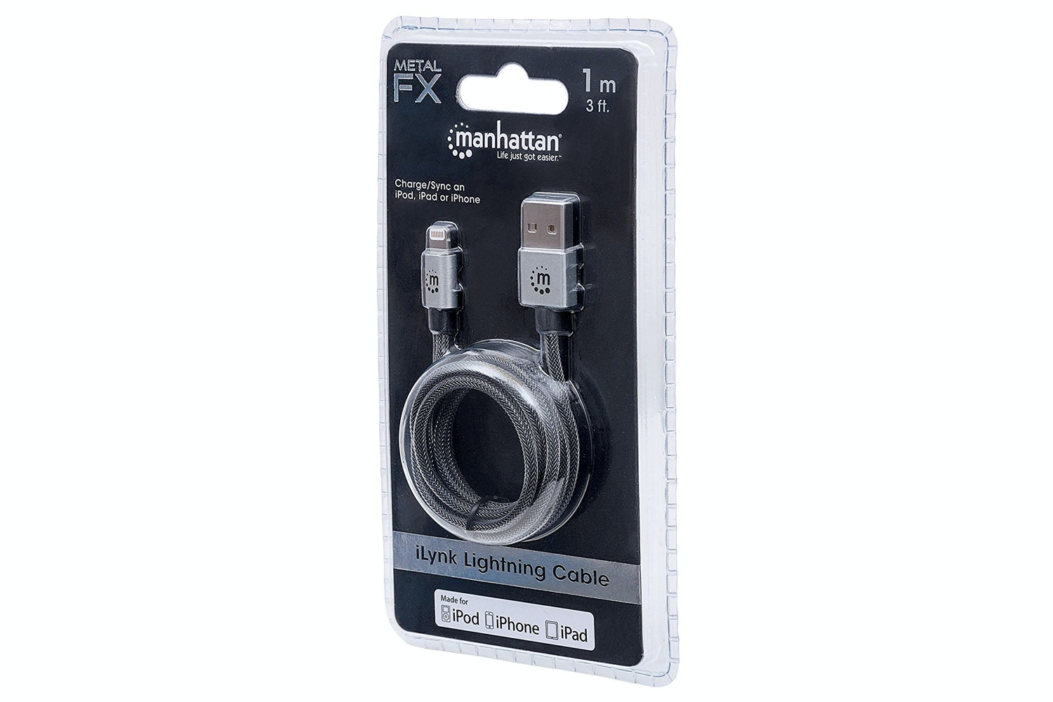 Manhattan iLynk Silver Braided Lightning Cable | 1m