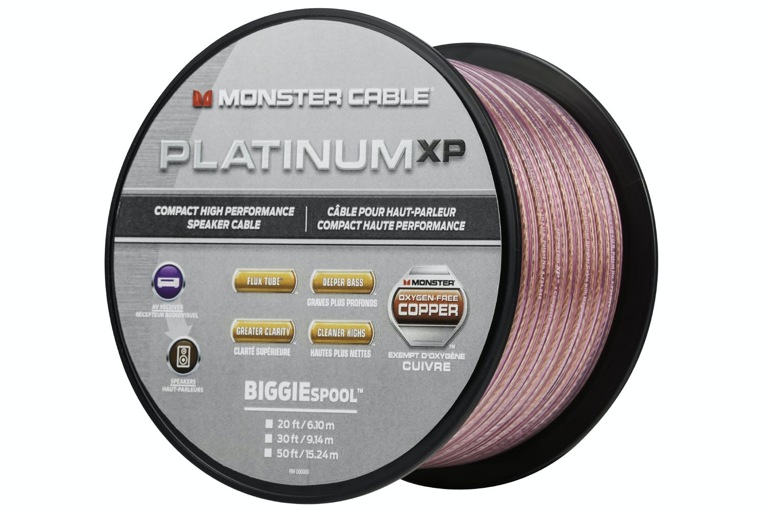 Monster Platinum XP Clear Jacket MKIII 50\' Compact Speaker Cable ...