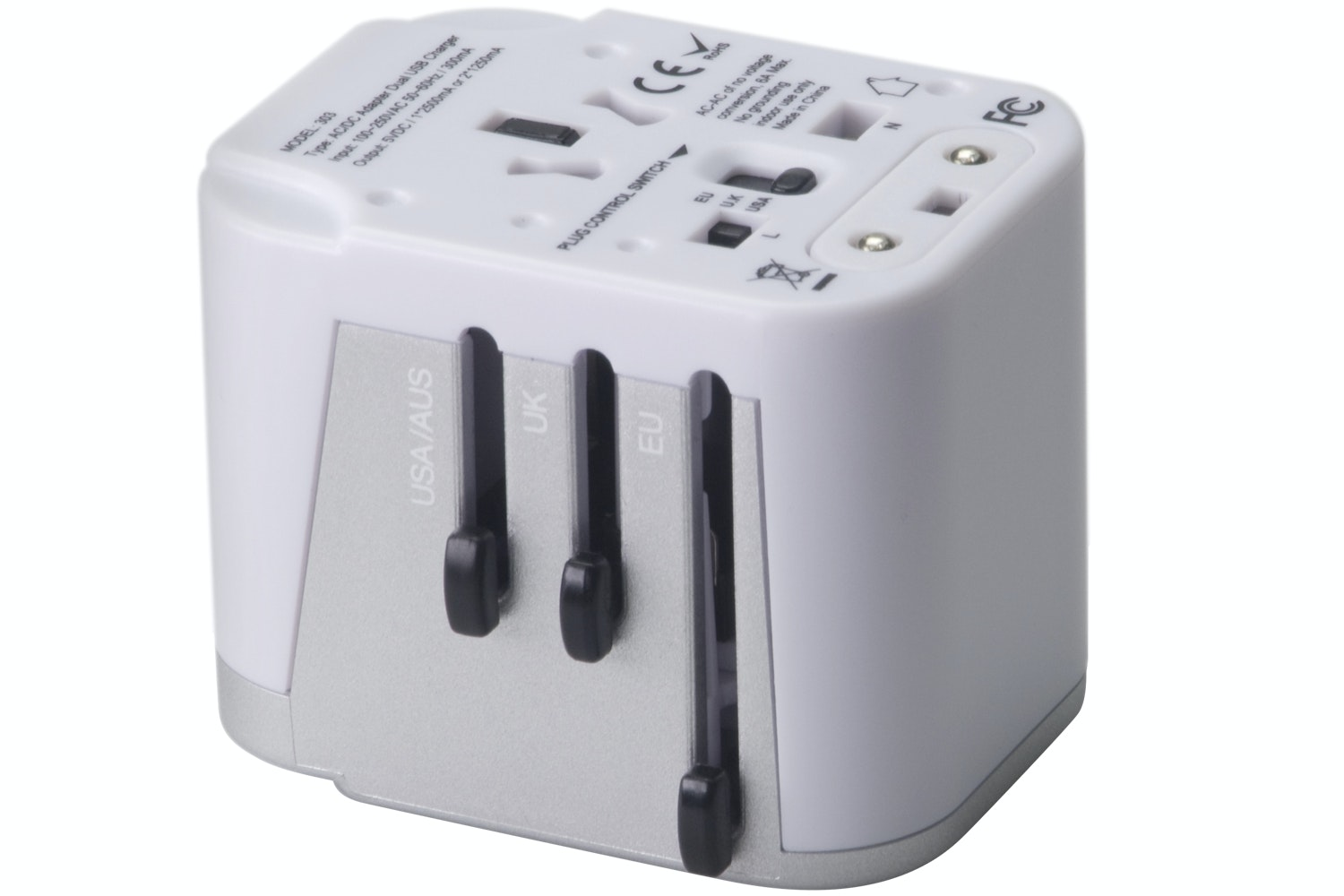G&BL Universal Travel Adapter with 2 USB 2100mA Professional series