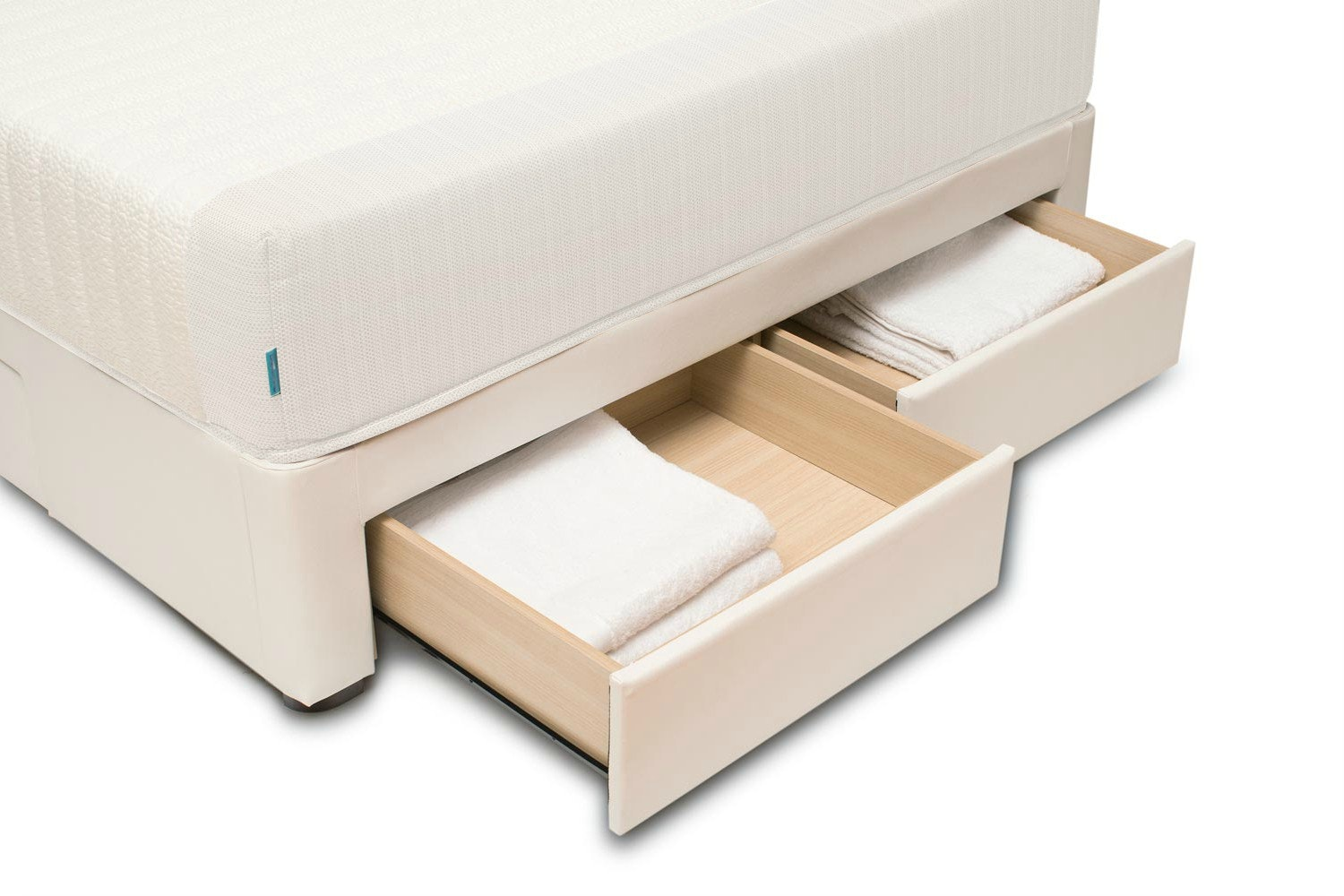 Duval Bed   Scroll Top with Storage   White   5ft