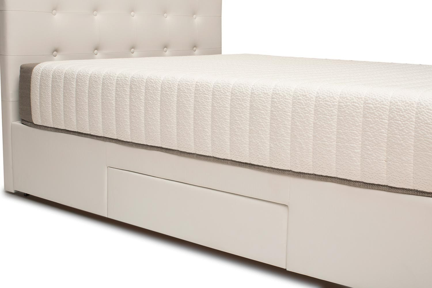 Duval Bed | Tufted Button with Storage | White | 4ft6