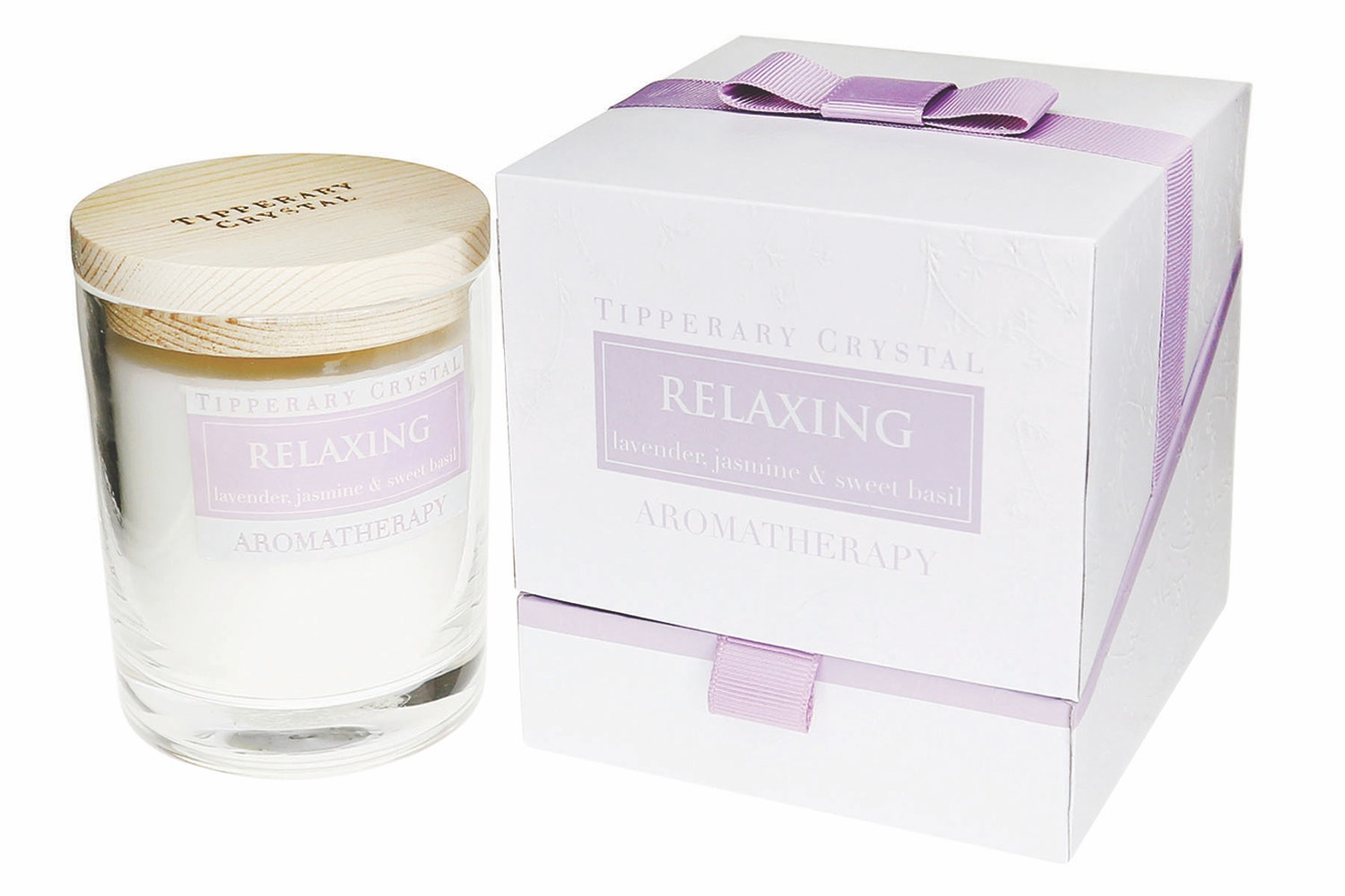 Tipperary Crystal|Relaxing Lavender Jasmine And Sweet Basil Candle