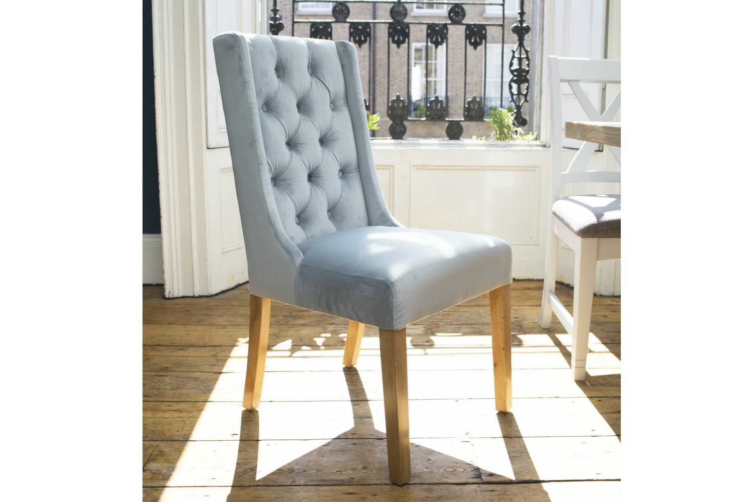 Elsa Dining Chair | Oak Leg Blue Velvet