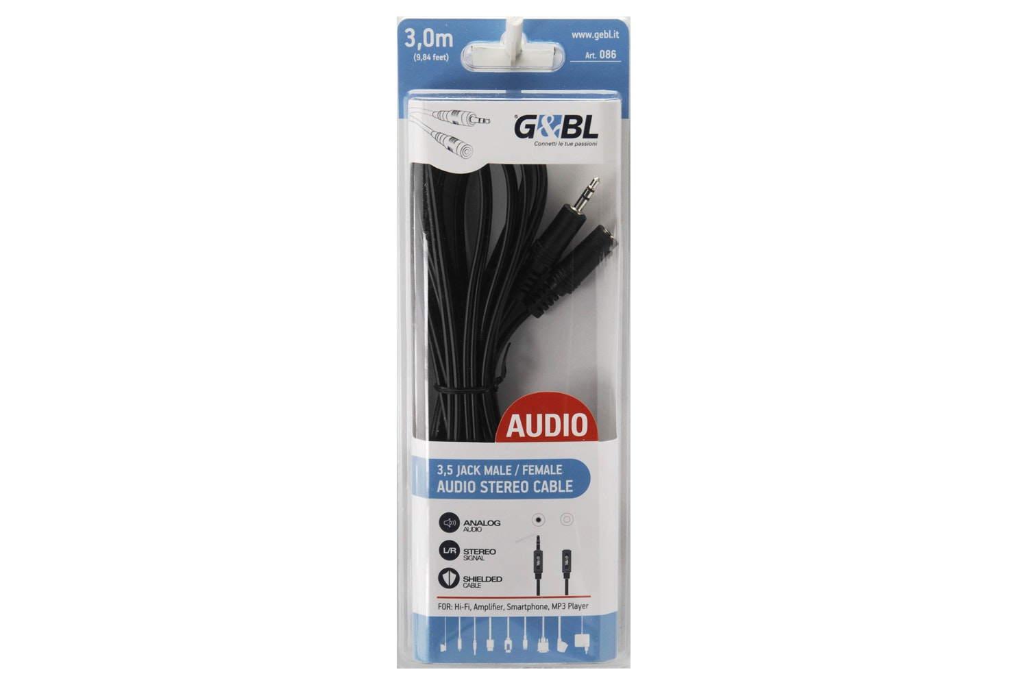 G&BL 3.5 Stereo Port Audio Extension Cable | 0.3m