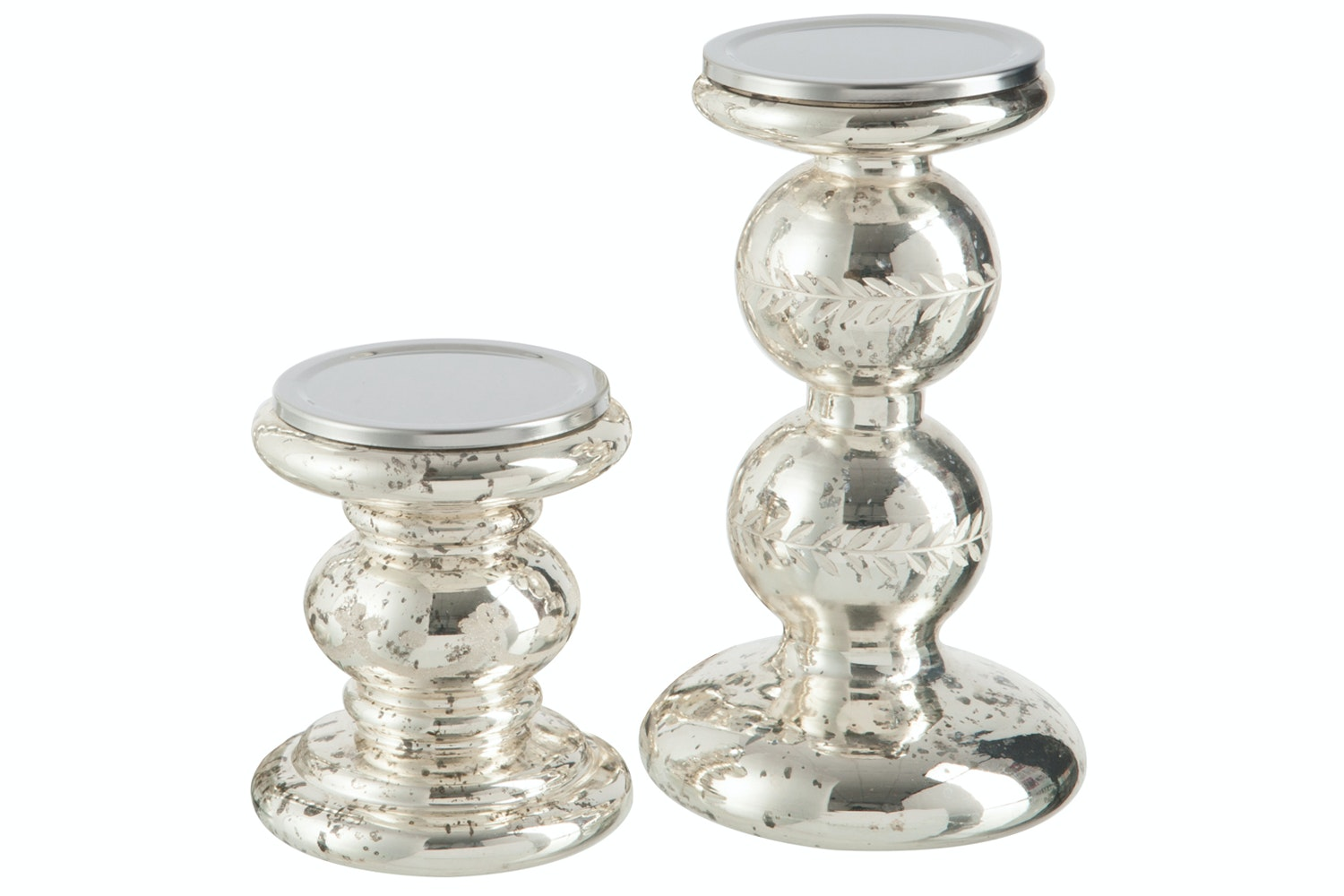 Candleholder Glass Silver | Small