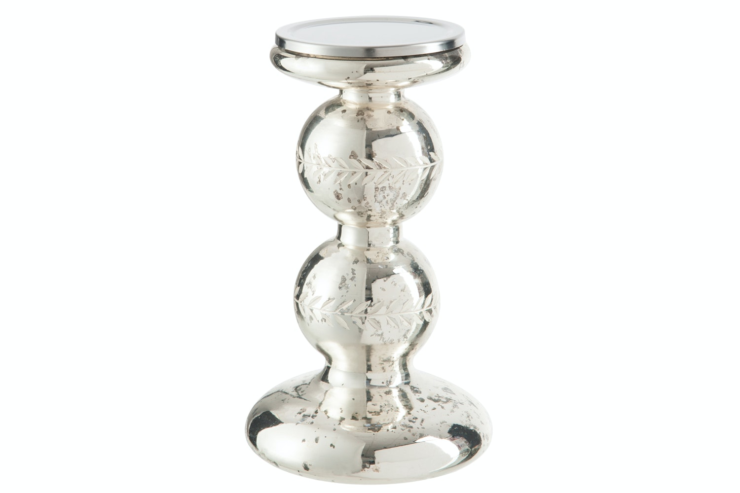 Candleholder Glass Silver   Large