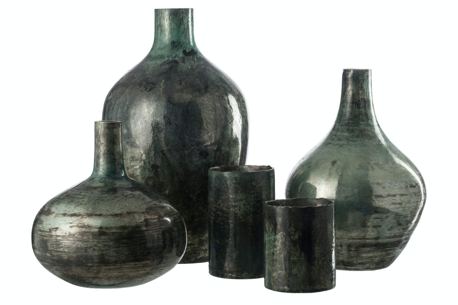 Vase Noa Glass | Green-Grey