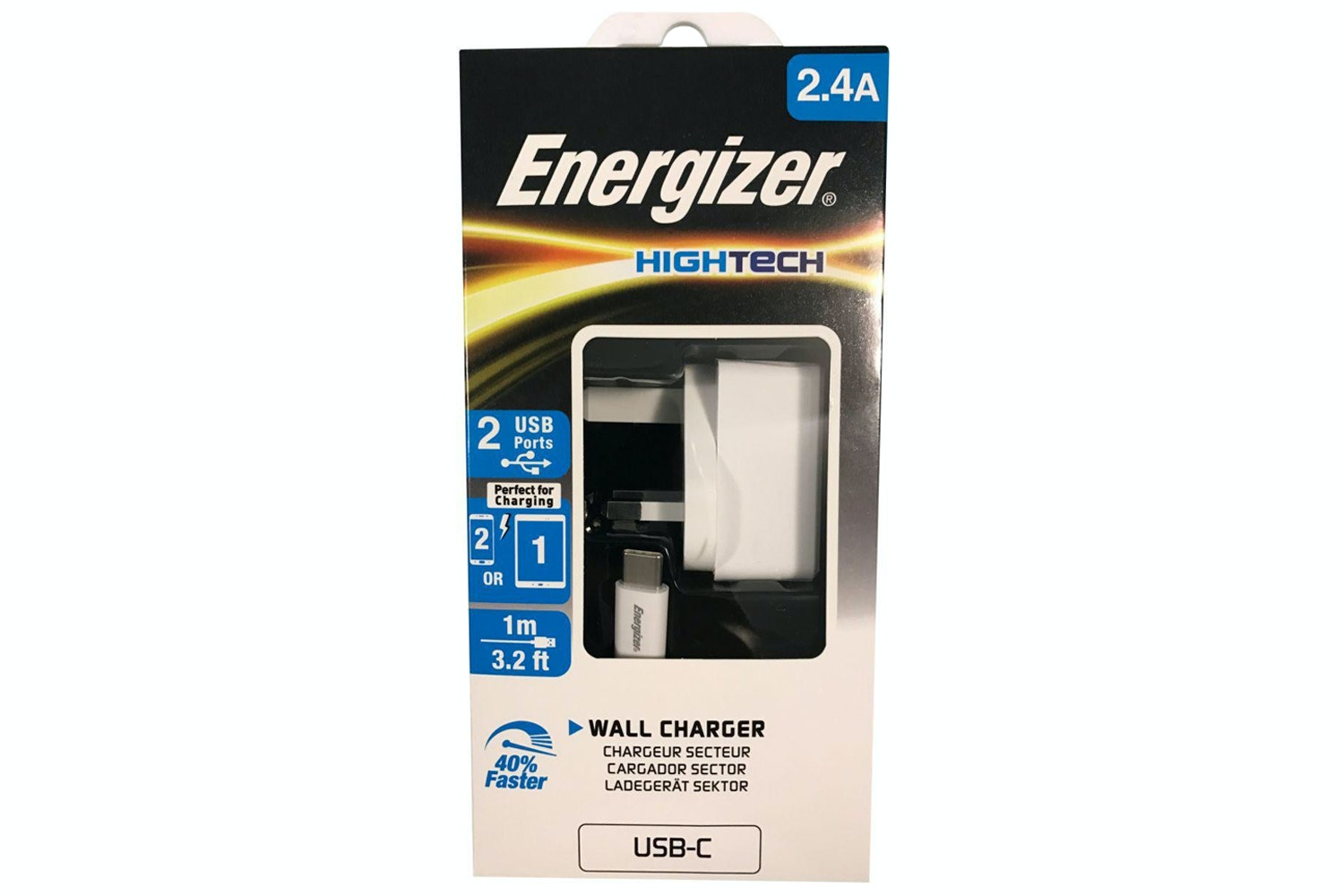 Energizer 2 USB Wall Charger with USB-C Cable   White