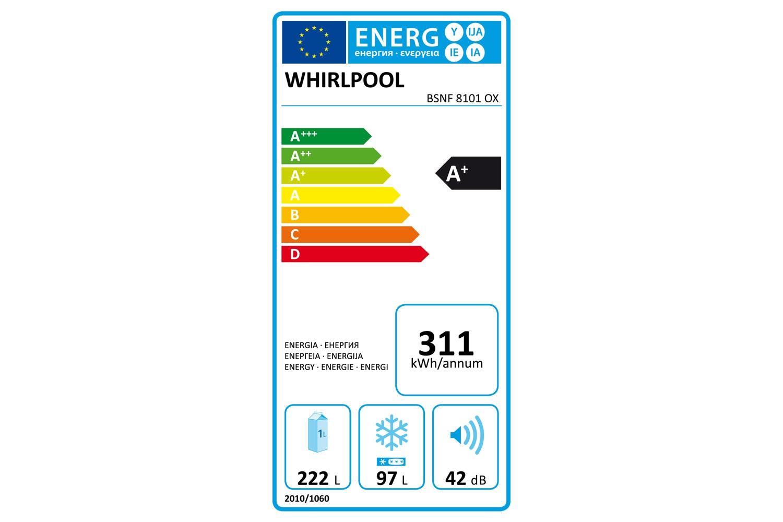 Whirlpool Freestanding Fridge Freezer | BSNF8101OX