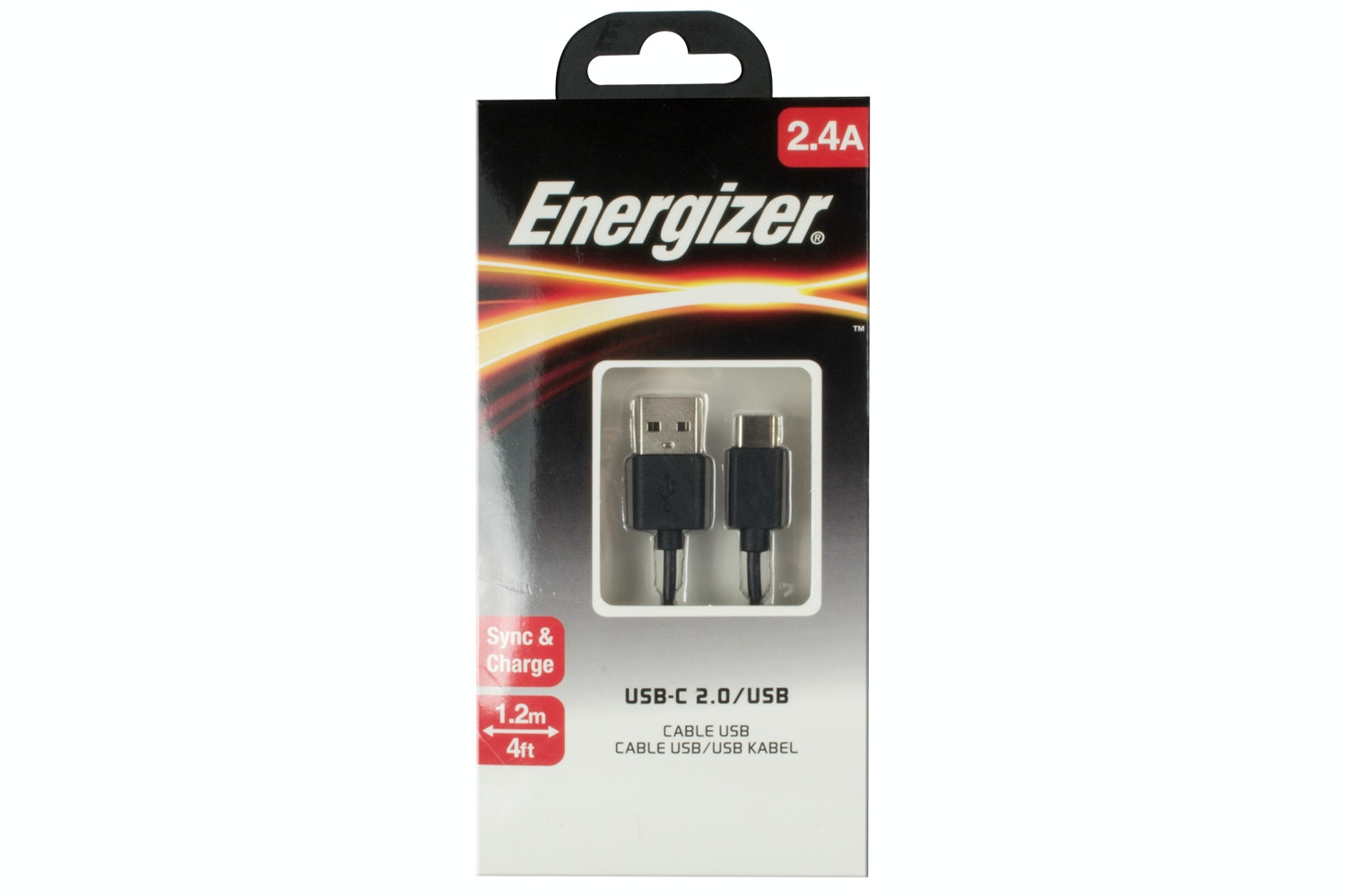 Energizer 1.2m USB Type C To Type A Cable | Black