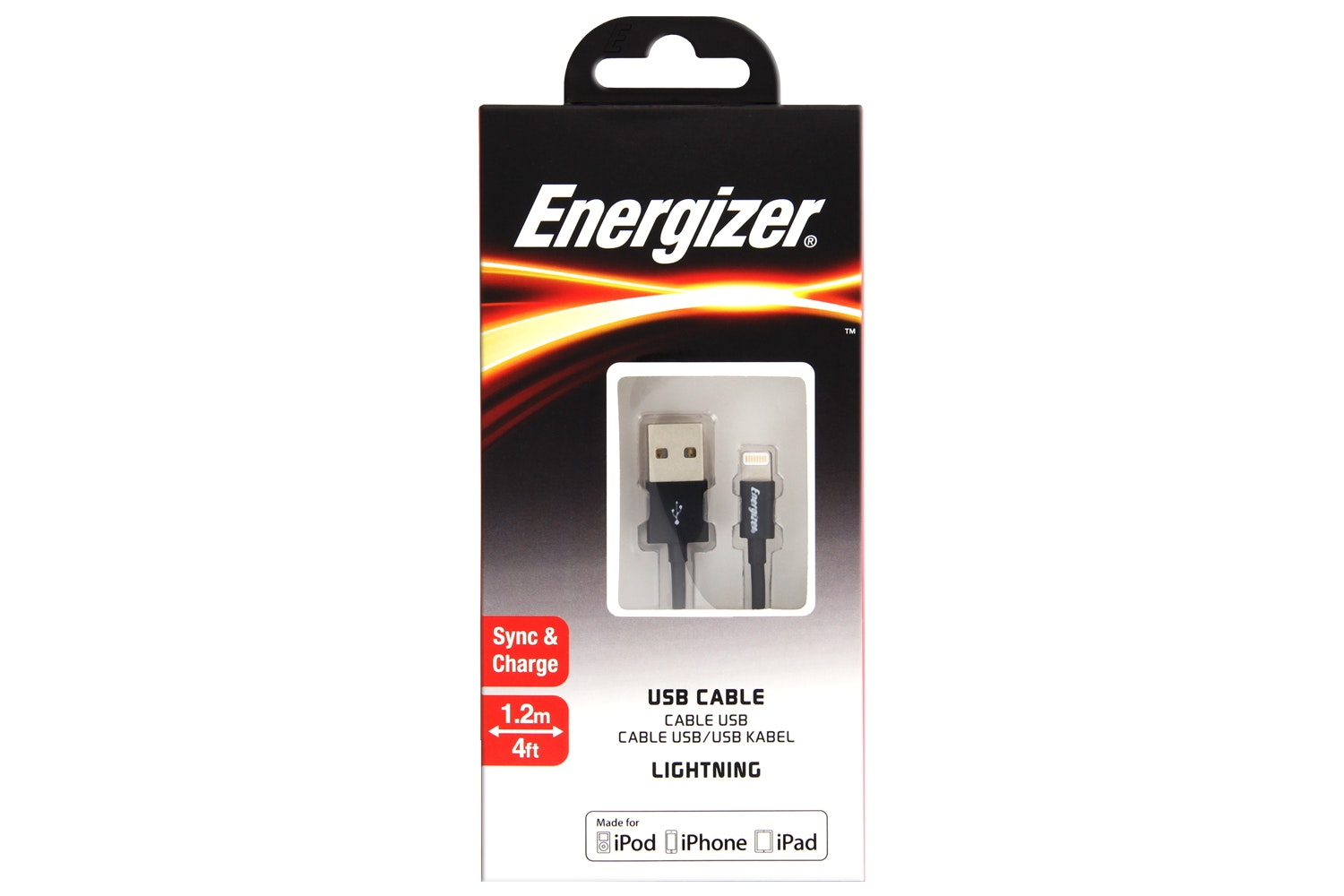 Energizer 1.2m Lightning to USB Cable | Black
