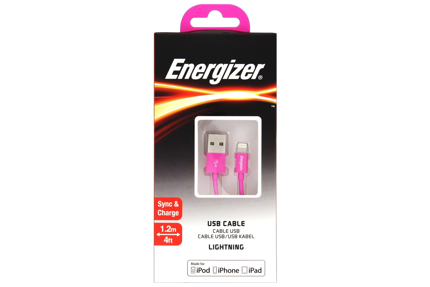 Energizer 1.2m Lightning to USB Cable | Pink