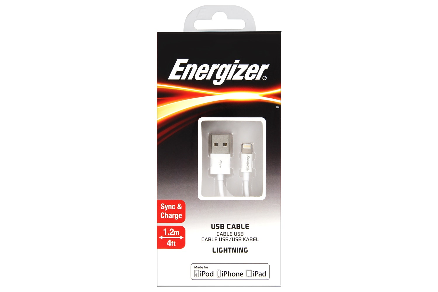 Energizer 1.2m Lightning to USB Cable | White