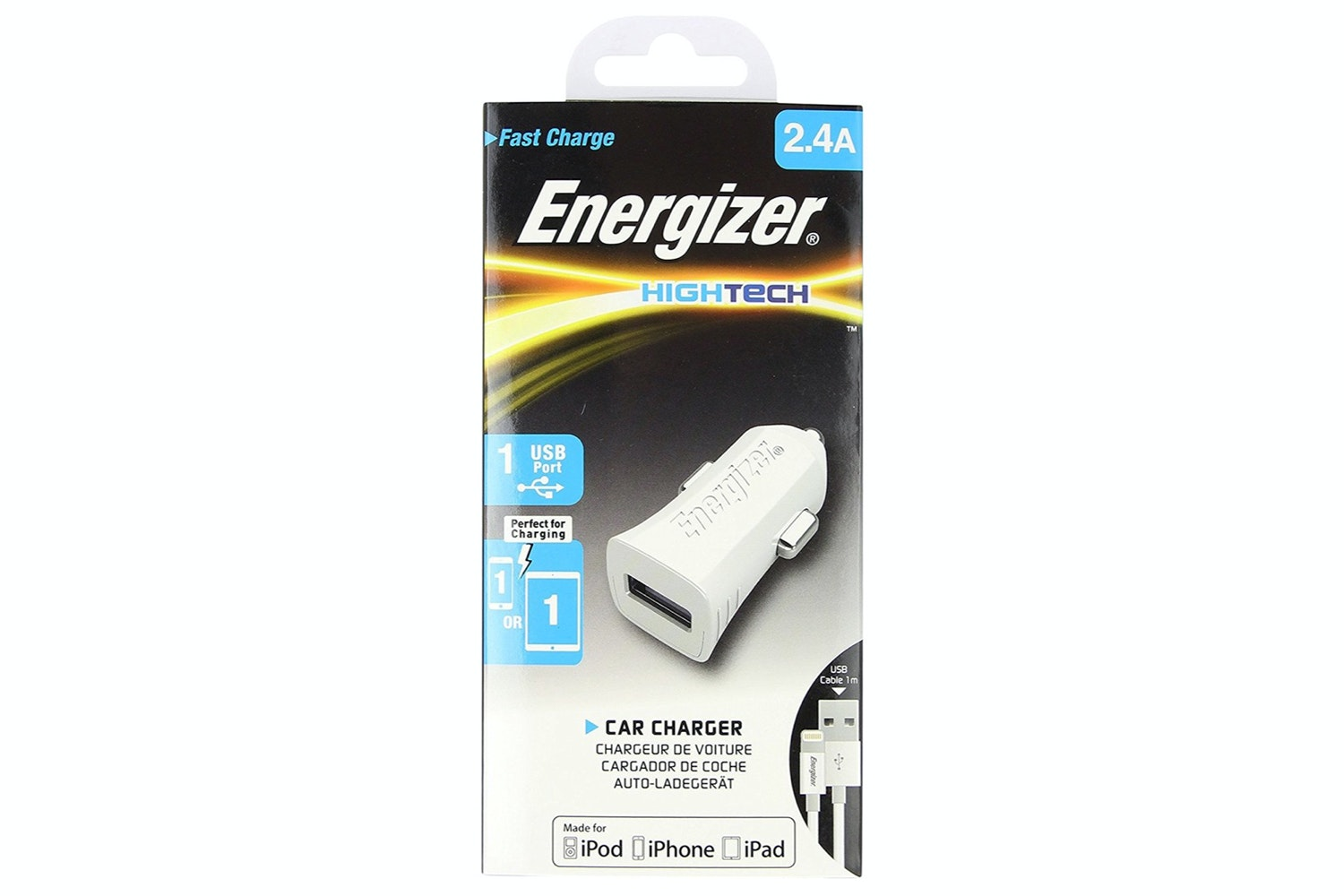 Energizer Lightning 2.4A USB Car Charger | White