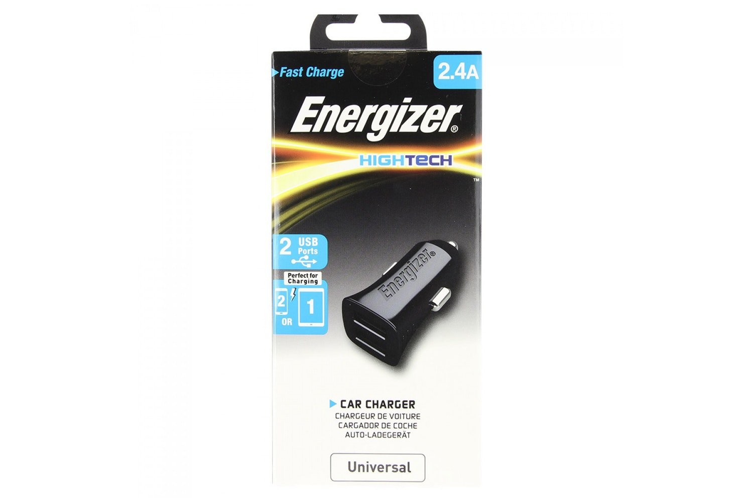 Energizer 2.4A Dual USB Car Charger | Black