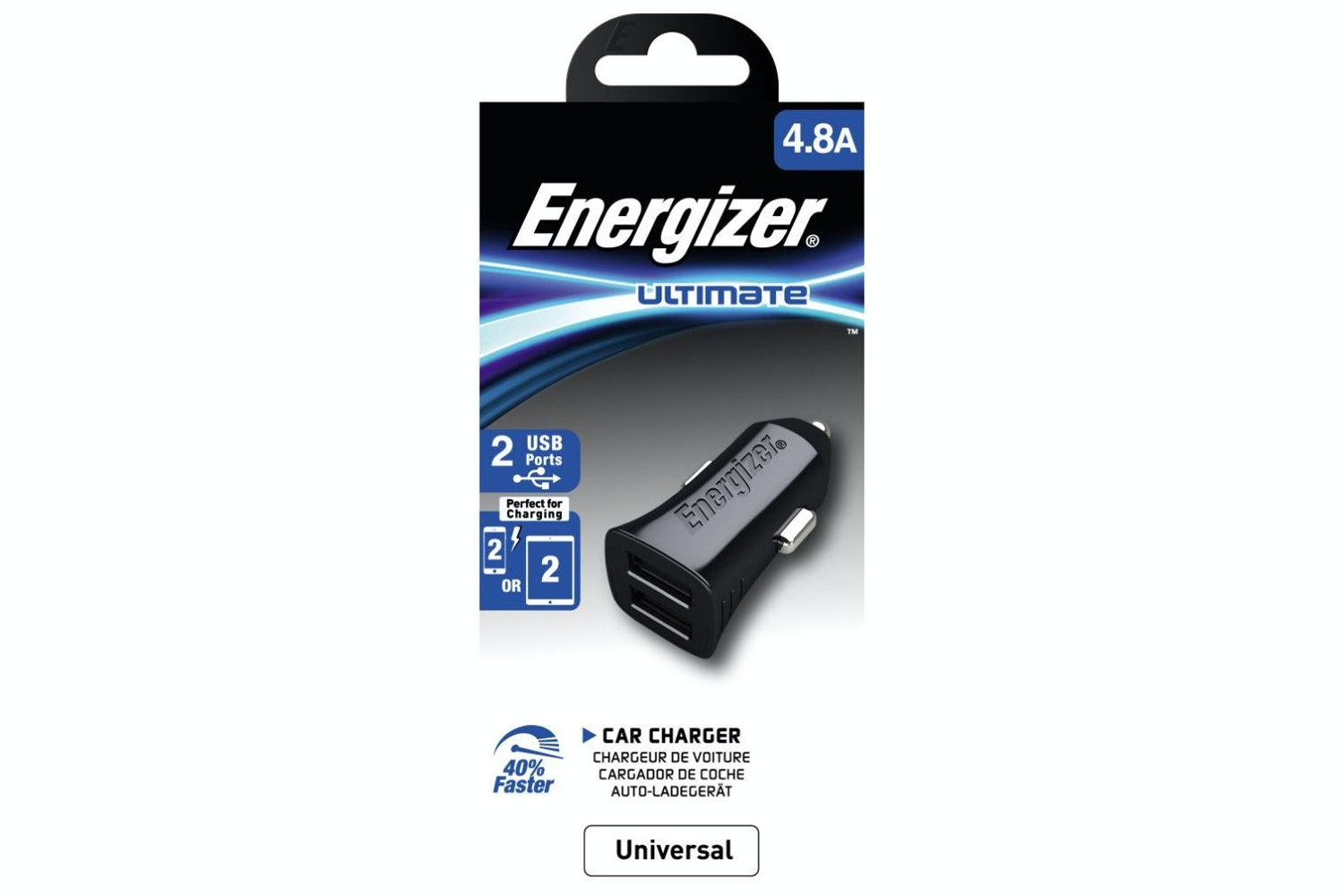 Energizer 4.8A Dual USB Car Charger | Black